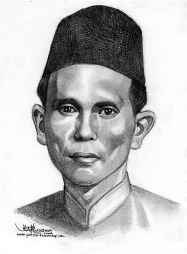 Malay Man  portrait in pencil A4
