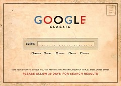 Google Classic: Please Allow 30 Days for your Search Results (Original artist unknown) (dullhunk) Tags: california ca classic google search funny postcard free stamp card mountainview googleplex kaart query snailmail results californication  94043 scifoo googleology amphitheatreparkway upcoming:event=2335793 googleclassic googlewave scifoo09