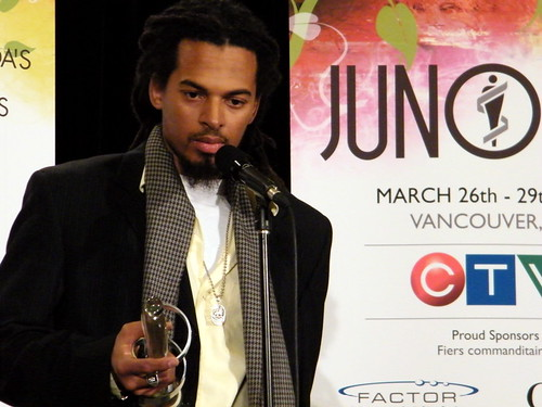 Humble with his Juno for Best Raggae Recording