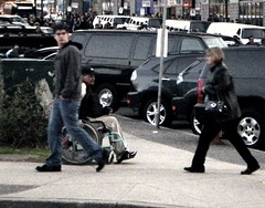 Spare Change/Juno Awards5 (refreshment_66) Tags: poverty street 2 3 contrast corner 1 wheelchair homeless neglected limo forgotten disabled streetcorner seated limousine panhandler panhandling ignored junos passersby junoawards junoawards2009