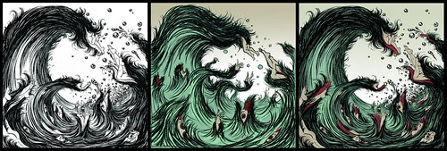 Tsunami (drawing, sketch and final) - Yuko Shimizu