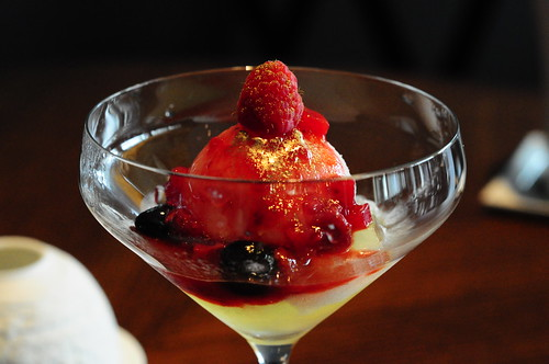 Crystal Champagne - Jello with Champagne Sorbet, Raspberry Coulis & Gold Dust