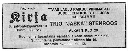 An ad for my dad's gig, in an old Finnish paper