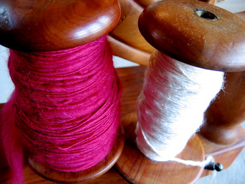 cherry merino and white silk, handspun
