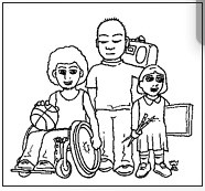 line drawing, one person in wheelchair with a basketball, one standing with a boom box, one standing holding art gear