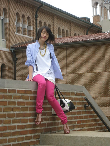 Blue dress shirt, J. Crew; White Suspender print Tee, Heritage 1981; Sheer top, Arden B.; Pink pants, H&M; Brown T-strap Platforms, BCBGirls; Panda Bag, Pandarama