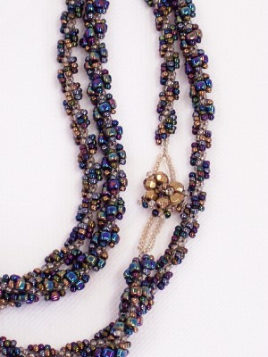 Peacock Iris n Bronze Long Rope Spiral Necklace