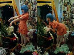 zombie sauce (chimidoro) Tags: plant me girl trash dark bedroom 60s mess punk dress urbandecay grunge kitsch explore gingham babydoll roxy roxanne polyptych bluehair catchme dollybird  hardcandy chimidoro kinderwhore redcheck kirigoe roxannekirigoe gladyseye chimidoro