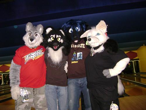 Fursuiters posing