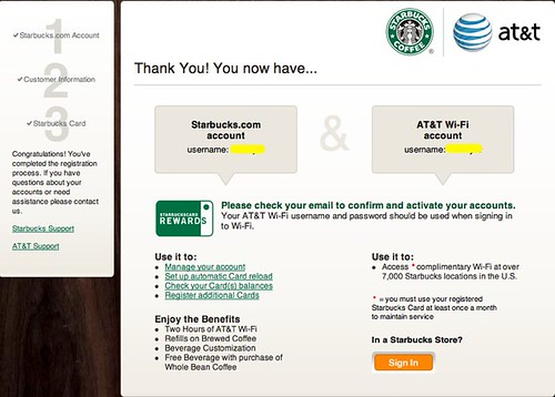 Sign Up for Starbucks - AT&T Wi-Fi