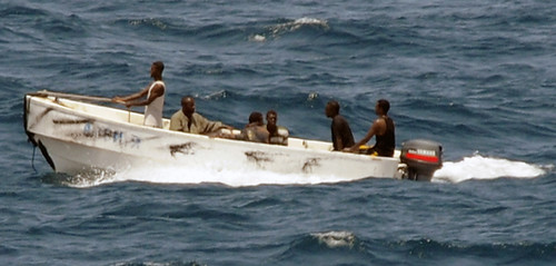 Somalian pirate boat patrolling the waters off the coast in the Horn of Africa. The US Navy killed three young Somali men in the Indian Ocean on April 12, 2009. by Pan-African News Wire File Photos