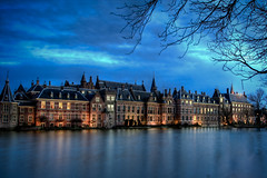 The Hague City Centre (Fabi Fliervoet) Tags: winter cold holland castle dutch night clouds office twilight pond long exposure stock thenetherlands parliament landmark denhaag government hdr hofvijver kamer binnenhof tweede fabifliervoet