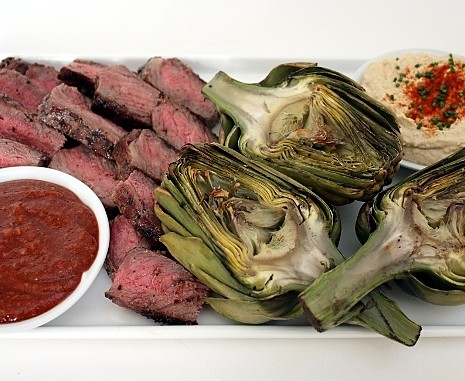 grilled steak, grilled artichokes, homemade steak sauce, hummus