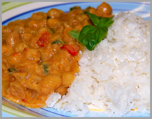 Vegan Recipe for Thai Chickpea Curry and Thai Coconut Rice