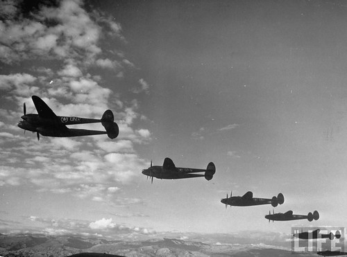 Warbird picture - 1st Fighter Group P-38's over North Africa