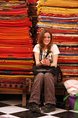 Kat And The Carpets (MykReeve) Tags: shop carpet katrina store kat seat morocco carpets meknes