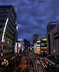 The Neighbours (Sikario) Tags: tower 20d japan skyscraper canon tokyo shinjuku neon stitch dusk fisheye parkhyatt zenitar