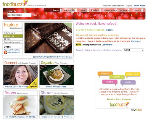 One of my images from a food review was published on the front page of Foodbuzz