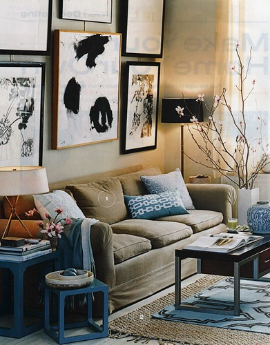 Gorgeous blue & brown living room: Luxe fabrics + modern artwork, from InStyle magazine by xJavierx