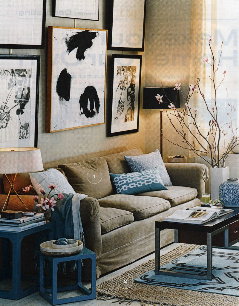 Gorgeous blue & brown living room: Luxe fabrics + modern artwork, from InStyle magazine