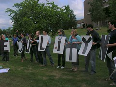 EQUALITY NOW: Outside on the Loussac lawn while testimony goes on in the Assembly chambers