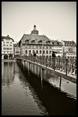 Lake Lucerne, Switzerland (Rajesh Vijayarajan Photography) Tags: bridge bw lake reflection switzerland nikon europe swiss luzern lucerne centralswitzerland rajeshvijayarajan fototweet rajeshvijayarajanphotography rajeshvj rajeshonflickr