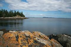 Views from Town Beach/Pendleton Point (MaineIslandGirl) Tags: ocean summer clouds point island bay coast rocks maine july calm atlantic fourth mossy penobscot islesboro