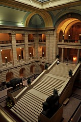 Grand Staircase (susanonline (busy these days)) Tags: lines statue architecture stairs curves staircase marble pillars bison foyer grandstaircase manitobalegislature patienthusband