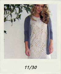 crocheted dress, brown tights, gray ankle boots, curled hair, 11-30 outfit+what I wore