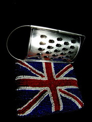 Grate Britain (Annie in Beziers) Tags: greatbritain ikea joke humour explore purse british unionjack beaded cheesegrater condemnation coolbritannia onmykitchentable annieinbziers blacktoback sunlightandartcard