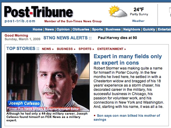 Joseph A. Cafasso, Jr. on the front page of the Post-Tribune of Northwest Indiana