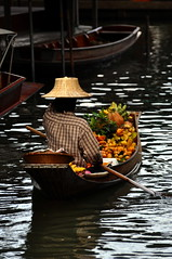 Floating Market Thailand (mrkubi) Tags: old people water fruit thailand happy boat canal stand nice nikon market eating traditional stall thai tradition seller floatingmarket d90 rachaburi nikond90 oldlifesyle thailifesyle