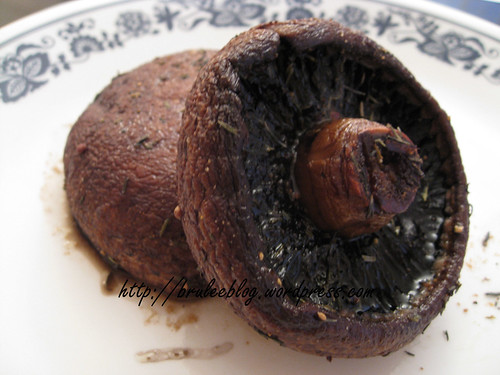Baked portobello mushrooms
