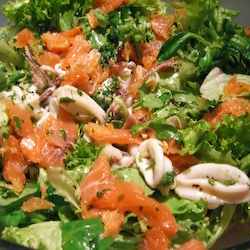 Spicy Green Salad with Squid and Smoked Salmon