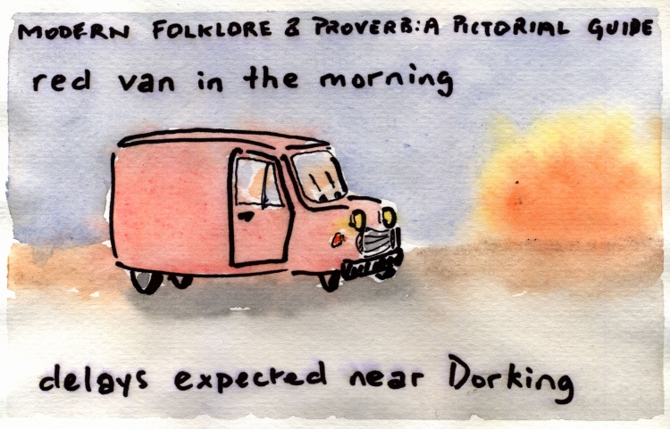 red van in the morning