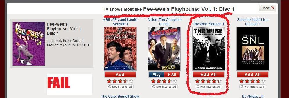 Netflix Suggestion Fail