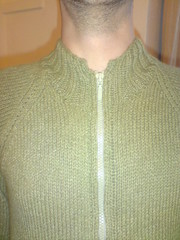 Owen's cardi (Mojen) Tags: green wool knitting knit craft husband yarn jacket owen knitted angora crafty cardigan knitty cardi retrofit crafted blacker owenblacker ravelry