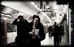 Miss Tube.. (Che-burashka) Tags: street people urban woman blur london station lady train portraits underground walking book metro tube dressedup outoffocus retro metropolis passersby tottenhamcourtrd urbanlyric londonphotogrpaher