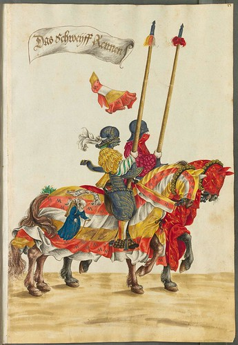 knights tournament hand-painted illustration 16th century