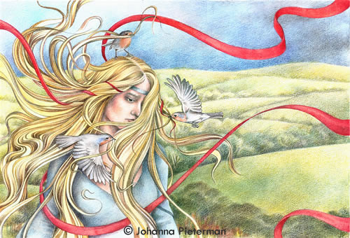 The Red Ribbon (Guinevere) by Johanna Pieterman