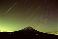 He'd like to come and meet us but he thinks he'd blow our minds (markfieldingpic) Tags: star 28mm trails velvia 100 velvia100 mtfuji startrails ef28mmf28
