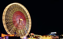 Ferris Wheel Night Blur (Alan Wrights) Tags: ireland blur wheel night fun long exposure fair ferris funfair