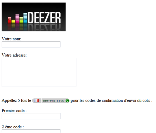 faux deezer spam