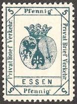 Essen Privat Brief Verkehr 5 Pf original gez (privatpost) Tags: essen locals stamp briefmarken localpost privatpost stadtpost