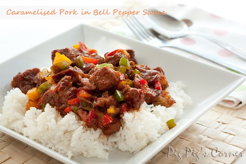 caramelised pork in bell pepper sauce