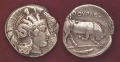 Scylla on the helmet of Athena (petrus.agricola) Tags: coin scilla lucania scylla skylla tetradrachm thourion thourioi distater
