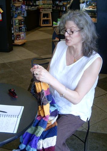 A Volunteer Knitter at the Charlotte WWKIP Day 2009