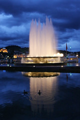 Illuminated fountain in Lucerne, Switzerland (**Anik Messier**) Tags: fab reflection fountain vertical switzerland nightshot suisse luzern ducks nopeople nighttime lucerne canards blueribbonwinner illuminatedfountain mywinners citrit theperfectphotographer europafountain