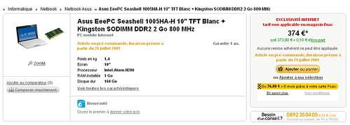 Offre EeePc 1005HA-H Fnac + Blogeee