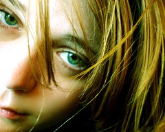 Green-Eyed Girl: Screaming in Silence (Alyssa L. Miller) Tags: portrait green eye girl beautiful face closeup female catchycolors hair golden intense eyes colorful sad emotion auburn hidden blond hazel streaks greeneyed naturalillumination thegreeneyedpeople
